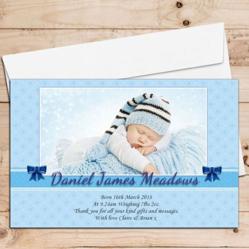 10 Personalised Baby Boy Birth Announcement Thank You PHOTO cards N89